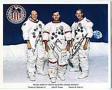1972 Apollo 16 crew signed NASA white space suit color litho