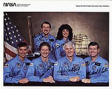 1984 STS-41D crew signed NASA color litho