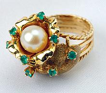 Lady's Cultured Pearl, Green Stone, 18K Yellow Gold Ring