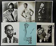 6 Autographed Portrait Stills of Jazz Greats Including Fitzgerald, Gillespie, Basie and Blake