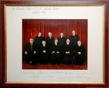 Signed Portrait Photo Presentation of All Nine Supreme Court Justices, Winter 1990
