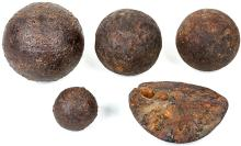 Collection Revolutionary War Canonballs, Ft. Ticonderoga and Hudson Highlands