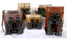 Collection of 5 Vintage Military Binoculars From France and Russia