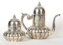 Lovely 20th Century Russian Silver Teapot and Caddy