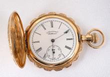 American Waltham 14K Yellow Gold Hunting Case Pocket Watch