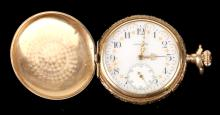 Lady's Waltham, 14K Tri Color Gold Hunting Case Pocket Watch