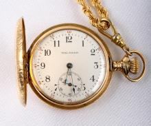 Waltham 14K Yellow Gold Hunting Case Pocket Watch & 18K Yellow Gold Chain