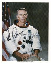 1969 Apollo 10 Gene Cernan signed NASA portrait litho
