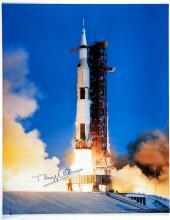1980s Buzz Aldrin signed Apollo 11 large NASA launch color litho