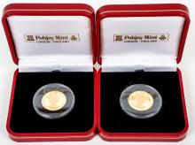 1999 Isle of Man proof 1/5 Crown Apollo 11 gold coins (x2)