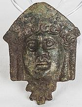 Roman Bronze Female Mask Handle