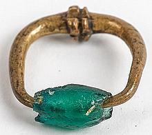 Roman Period Green Glass and Bronze Ring, circa 200-400 AD