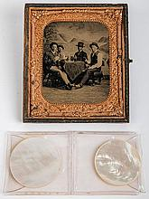 Poker Game Tintype and Two Mother-of-Pearl Poker Chips