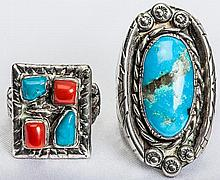 Collection of Turquise & Coral Rings