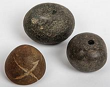 Three Rappahannock River Mound Hammer Stones - Startzman Collection