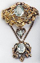Antique Aquamarine, 14K Yellow Gold Brooch/Pendant