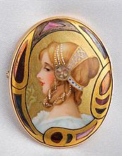 Art Nouveau Hand Painted Oval 10K Yellow Gold Brooch