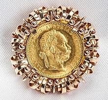 Austrian Coin, 14K Yellow Gold Pendant/Brooch