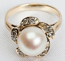 Lady's Cultured Pearl, Diamond, 14K Yellow Gold Ring