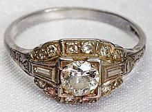 Lady's Art Deco Diamond, Platinum Ring