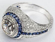 Lady's Art Deco Style Diamond, Sapphire, 18K White Gold Ring