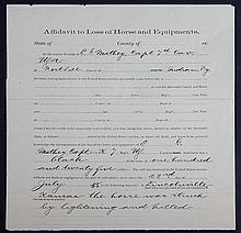 7th U.S. Cavalry Document For a Horse Struck and Killed by Lightning