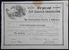 CSA $500 Confederate bond.