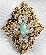 Opal, Diamond, Cultured Pearl, 14K Yellow Gold Floral Design Brooch/Pendant