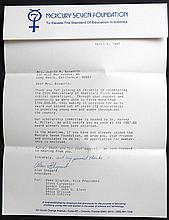 1987 Alan Shepard Signed Mercury Seven Foundation Letter