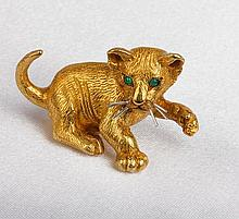 Tiffany 18K Yellow Gold, Emerald Cat Brooch