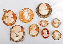 Collection of Nine Rare Cameo Yellow Gold & Yellow Metal Brooches