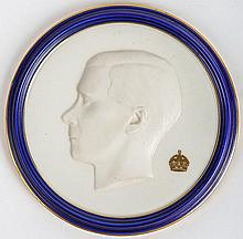 [Edward VIII] Royal Worcester fine porcelain Coronation plaque