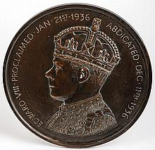 [EDWARD VIII] Bronze Trial Strike For the Abdication Plaque