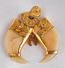 Custom Made Animal Claws 14K Yellow Gold Brooch/Pendant