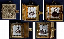 [Lincoln and Generals] Patriotic Locket With Four Gem-sized Photos