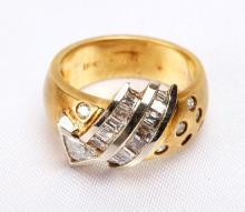 Lady's Diamond, 18K Yellow Gold Band Ring