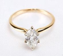 Lady's Marquise Diamond Solitaire, 14K Yellow Gold Ring