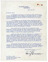 President Harry S. Truman Writes to the National Jewish Welfare Board