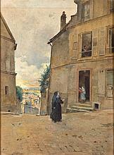 LUIS JIMÉNEZ ARANDA (Seville, 1845 - 1928), Calle de Pontoise - LUIS JIMÉNEZ ARANDA 1845 Sevilla - 1928 Calle de Pontoise