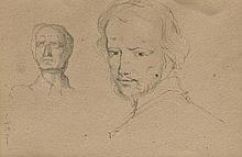 HENRY WALLIS (London, 1830 - 1916), Portrait sketch and  Balcony in Seville - HENRY WALLIS  1830 Londres - 1916 Estudio de retrato