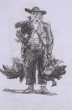 HENRY WALLIS (London, 1830 - 1916), A Farmer with chickens - HENRY WALLIS  1830 Londres - 1916 Campesino con pollos