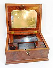 19th century wooden sewing box
