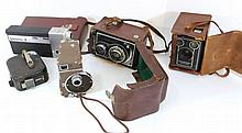 Lot of five cameras and film cameras