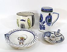 Lot of four ceramic items by Lapid (Israel)