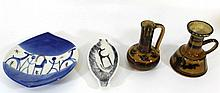Lot of four ceramic items by Lapid