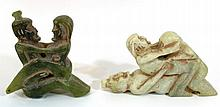 Lot of two Oriental erotic jade figurines