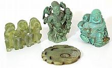 Lot of four Jade and similar stone figurines