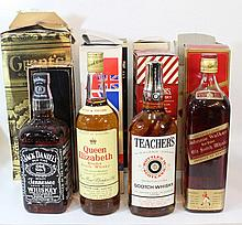Lot of various whisky bottles