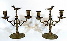 pair of brass Shabbat double candlesticks