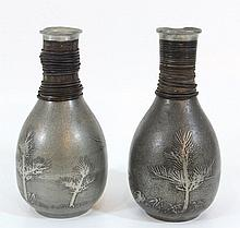 Pair of Japanese saké bottles